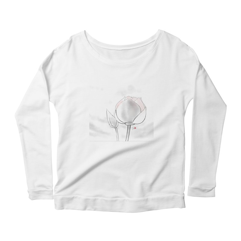 Lotus Bud Women's Scoop Neck Longsleeve T-Shirt by Designs by Billy Wan