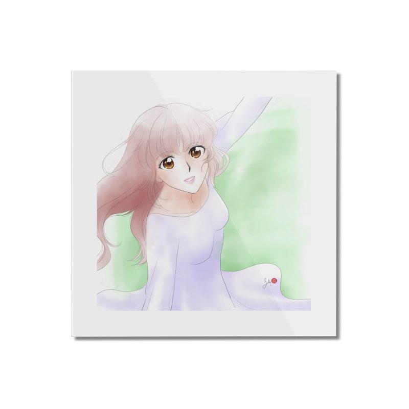 Manga Girl Home Mounted Acrylic Print by Designs by Billy Wan