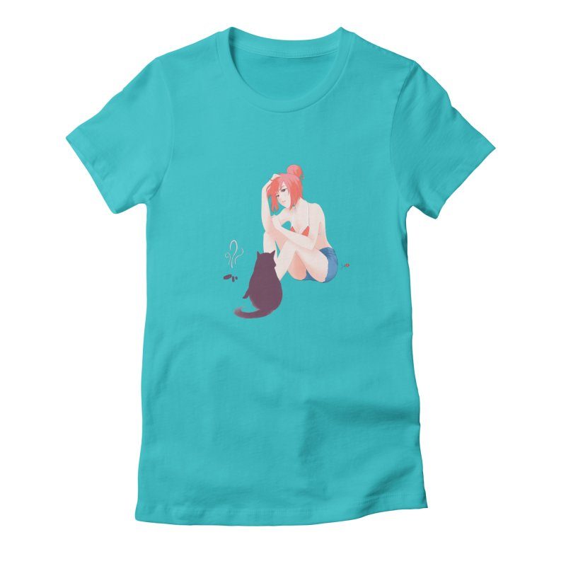 Cat Owner or Slave? in Women's Fitted T-Shirt Pacific Blue by Designs by Billy Wan