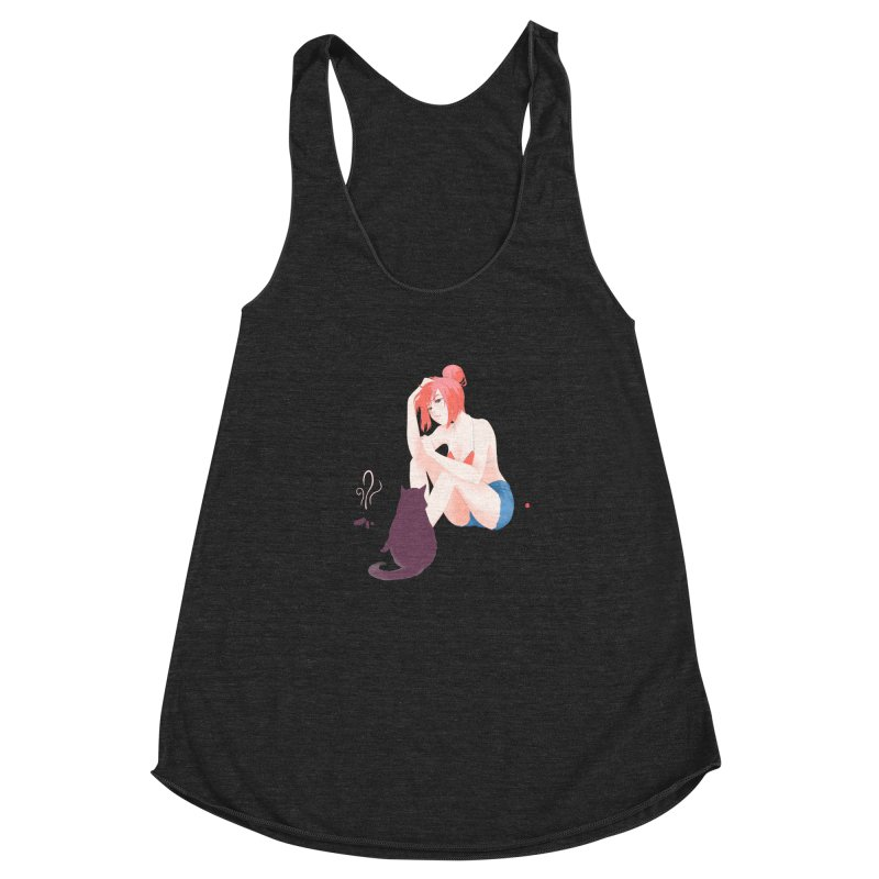 Cat Owner or Slave? Women's Racerback Triblend Tank by Designs by Billy Wan