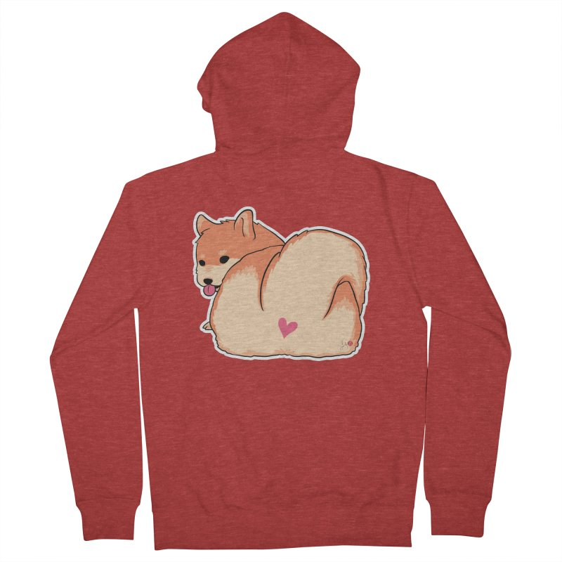 Shiba Inu Butt Men's French Terry Zip-Up Hoody by Designs by Billy Wan