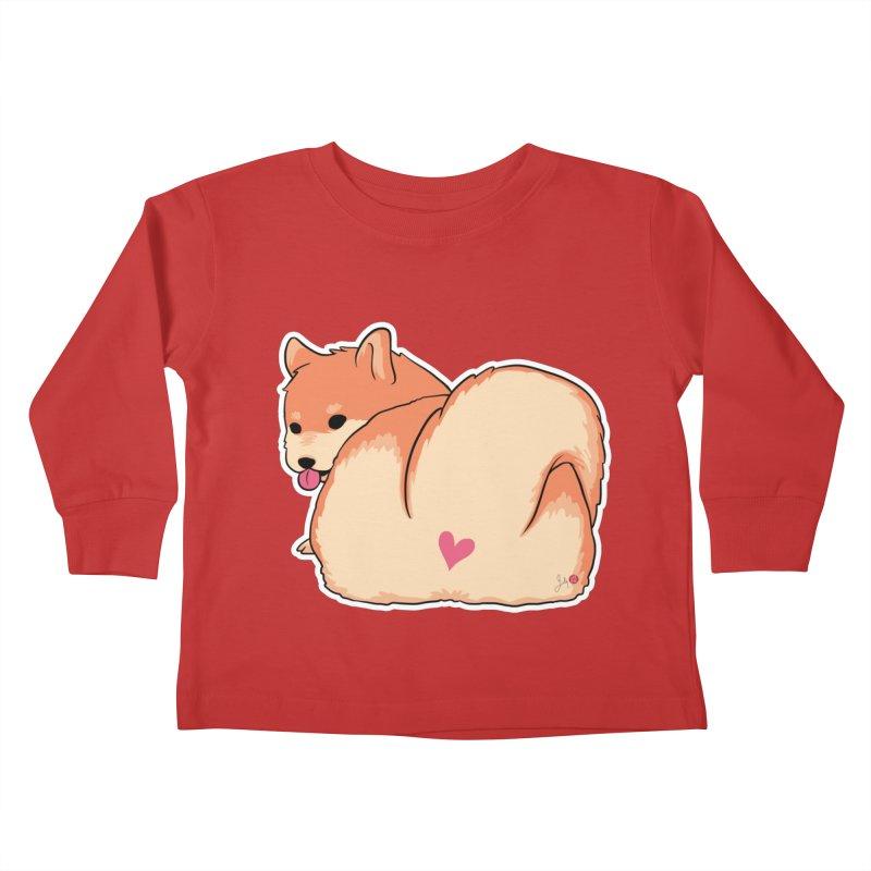 Shiba Inu Butt Kids Toddler Longsleeve T-Shirt by Designs by Billy Wan