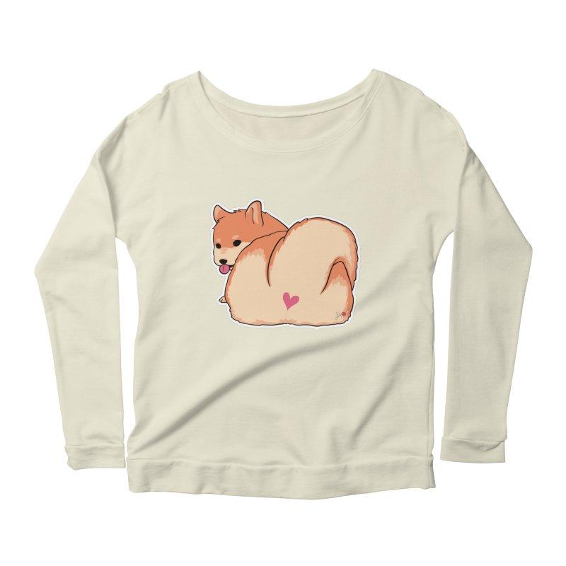 Shiba Inu Butt Women's Scoop Neck Longsleeve T-Shirt by Designs by Billy Wan