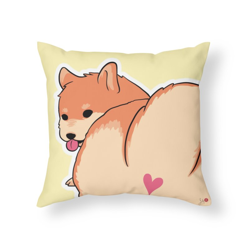 Shiba Inu Butt in Throw Pillow by Designs by Billy Wan