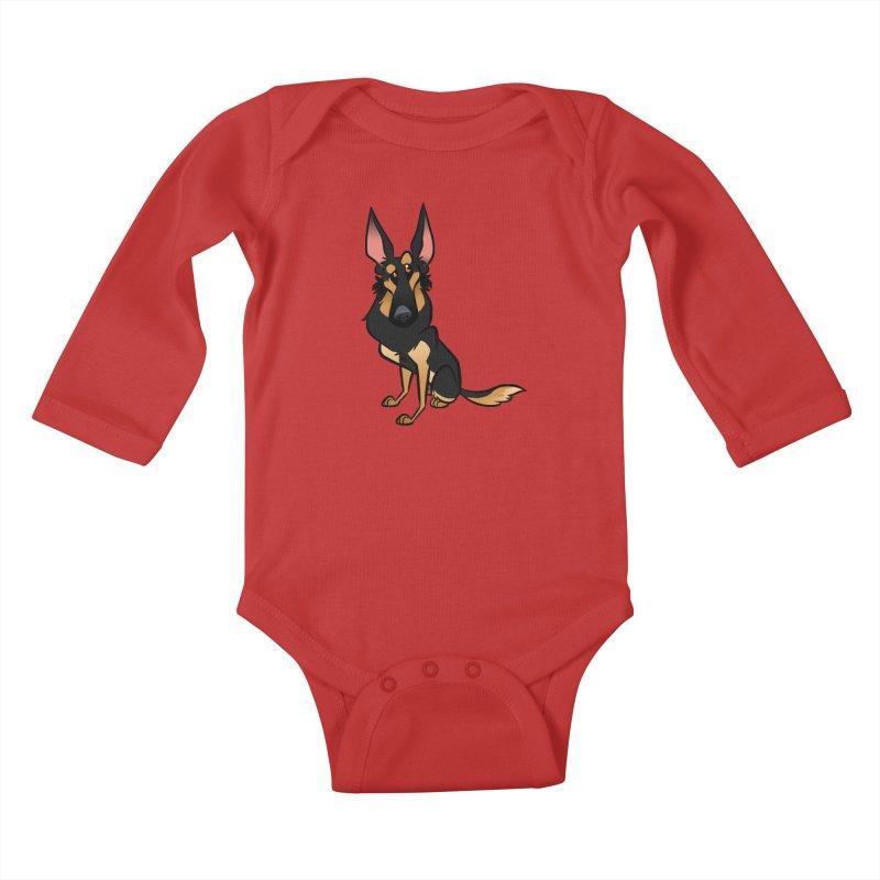 Black and Tan Shepherd Kids Baby Longsleeve Bodysuit by binarygod's Artist Shop