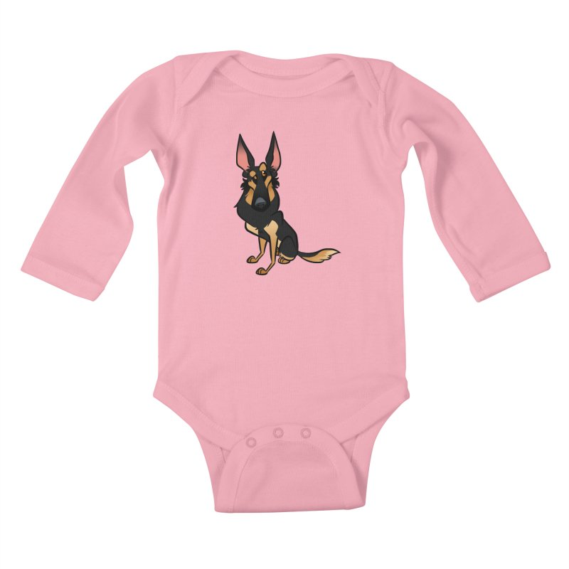 Black and Tan Shepherd Kids Baby Longsleeve Bodysuit by binarygod's Artist Shop