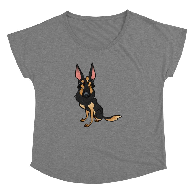 Black and Tan Shepherd Women's Dolman Scoop Neck by binarygod's Artist Shop