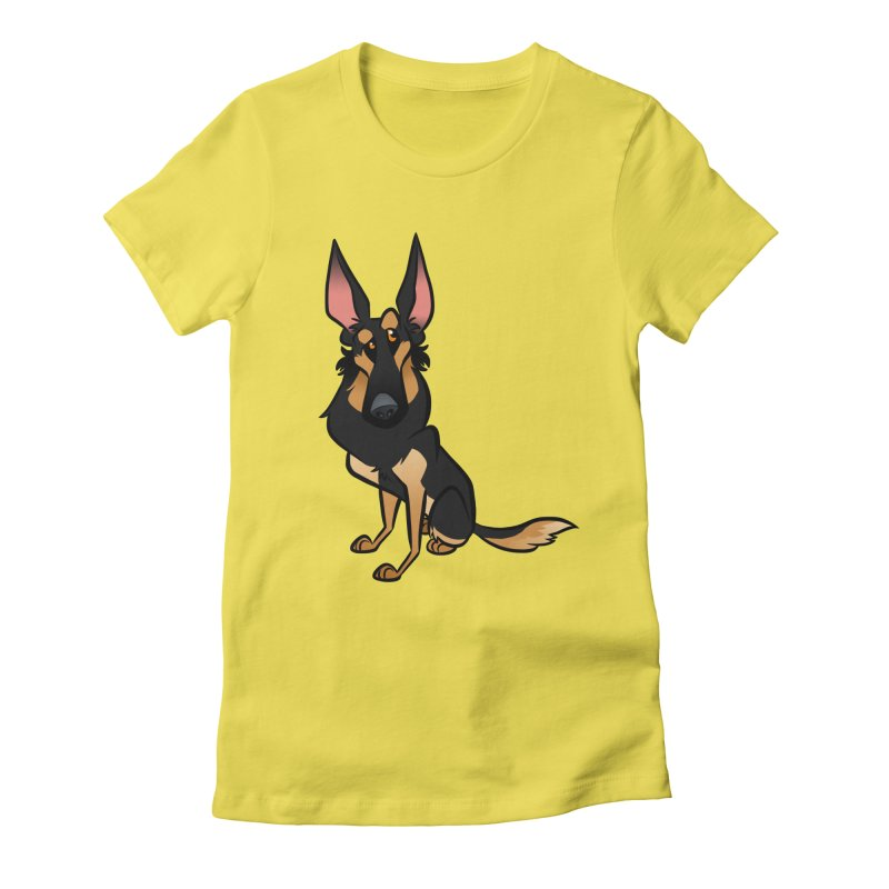 Black and Tan Shepherd Women's Fitted T-Shirt by binarygod's Artist Shop