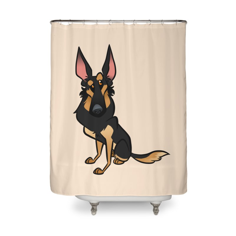 Black and Tan Shepherd Home Shower Curtain by binarygod's Artist Shop