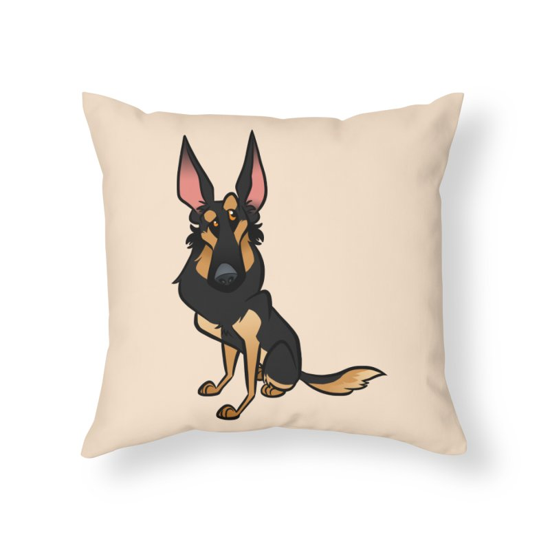 Black and Tan Shepherd Home Throw Pillow by binarygod's Artist Shop