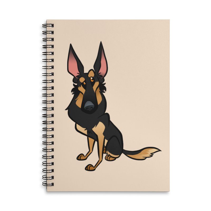 Black and Tan Shepherd Accessories Lined Spiral Notebook by binarygod's Artist Shop