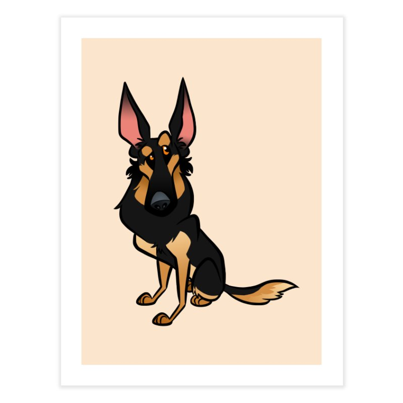 Black and Tan Shepherd Home Fine Art Print by binarygod's Artist Shop
