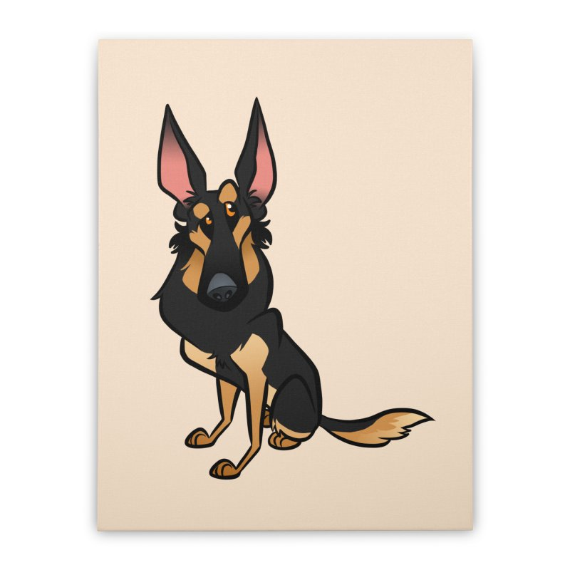 Black and Tan Shepherd Home Stretched Canvas by binarygod's Artist Shop