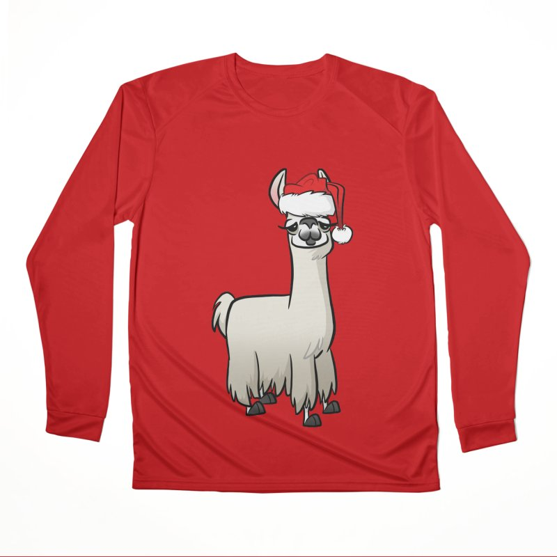 Christmas Llama Women's Performance Unisex Longsleeve T-Shirt by binarygod's Artist Shop