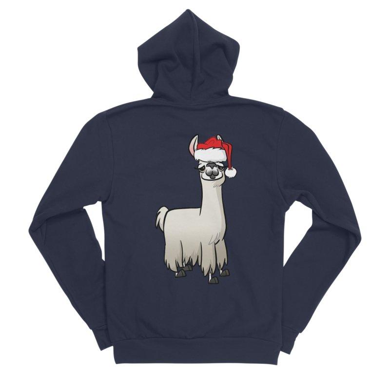 Christmas Llama Women's Sponge Fleece Zip-Up Hoody by binarygod's Artist Shop