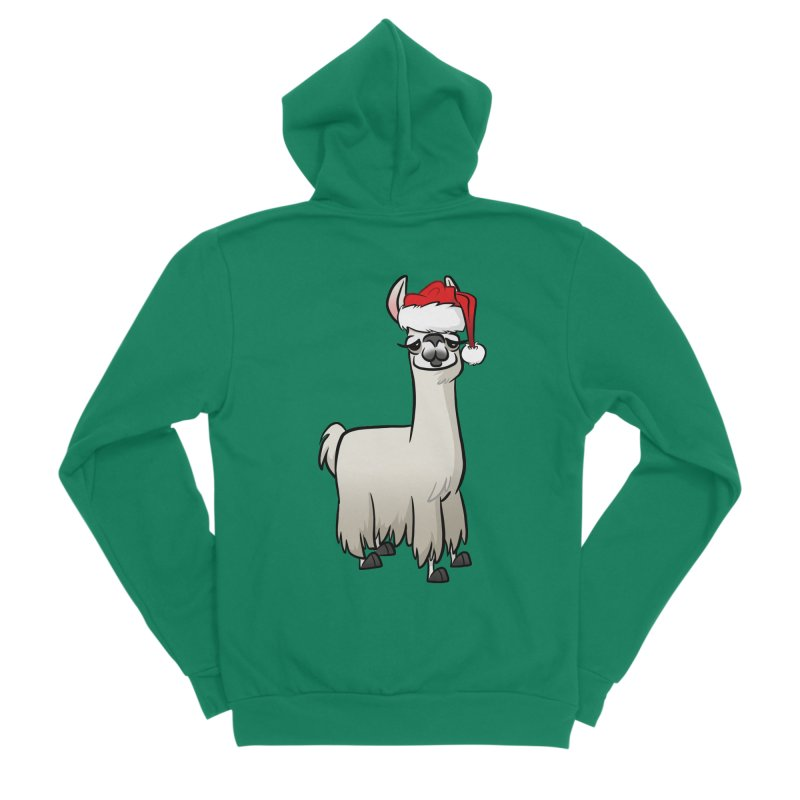 Christmas Llama Women's Sponge Fleece Zip-Up Hoody by binarygod's Artist Shop