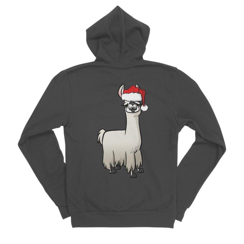 Christmas Llama Men's Sponge Fleece Zip-Up Hoody by binarygod's Artist Shop