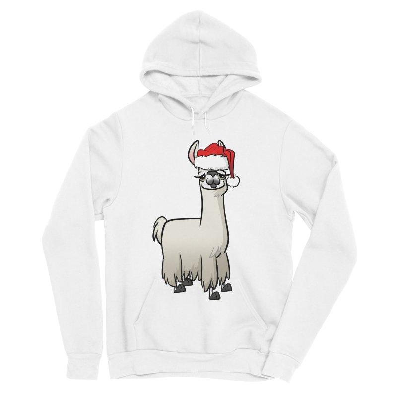 Christmas Llama Women's Sponge Fleece Pullover Hoody by binarygod's Artist Shop