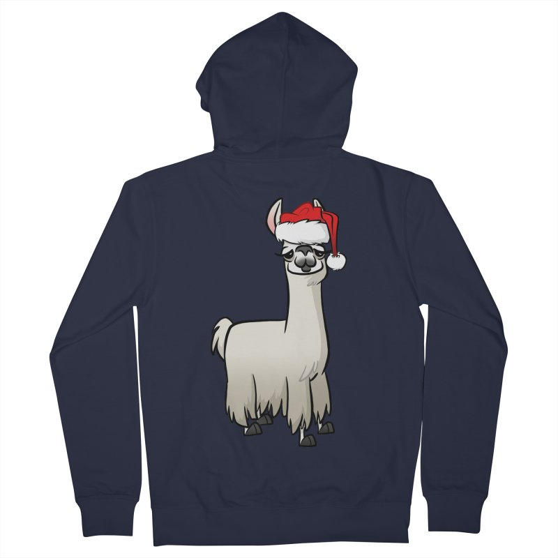 Christmas Llama Women's French Terry Zip-Up Hoody by binarygod's Artist Shop