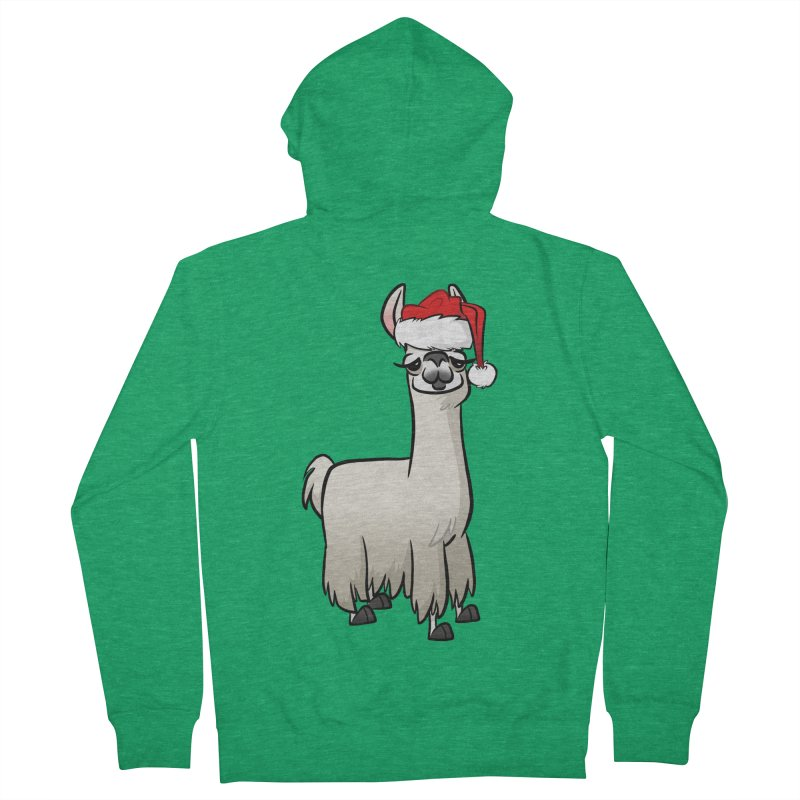 Christmas Llama Men's French Terry Zip-Up Hoody by binarygod's Artist Shop