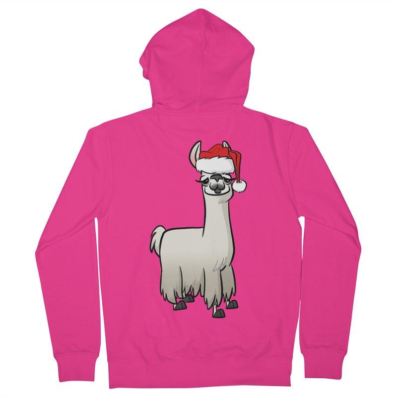 Christmas Llama Men's French Terry Zip-Up Hoody by binarygod's Artist Shop