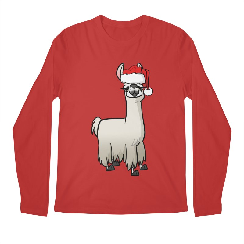 Christmas Llama Men's Regular Longsleeve T-Shirt by binarygod's Artist Shop