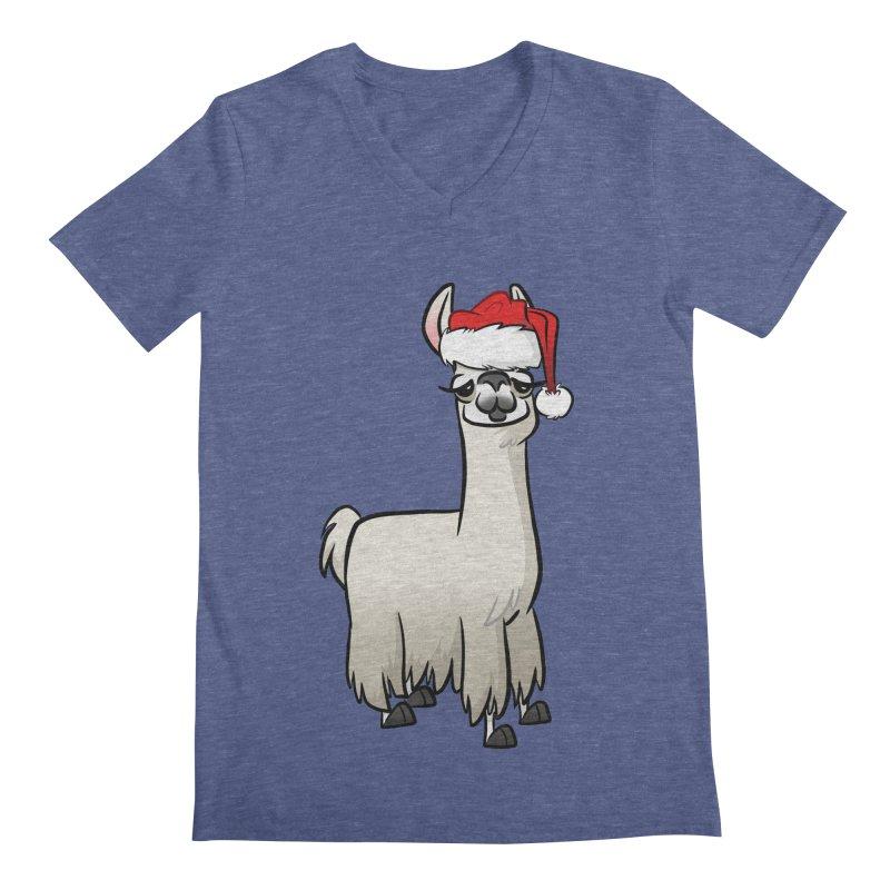 Christmas Llama Men's Regular V-Neck by binarygod's Artist Shop