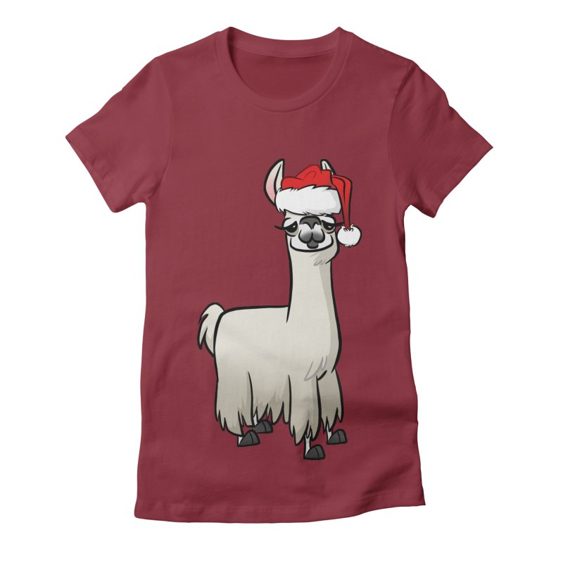 Christmas Llama Women's Fitted T-Shirt by binarygod's Artist Shop