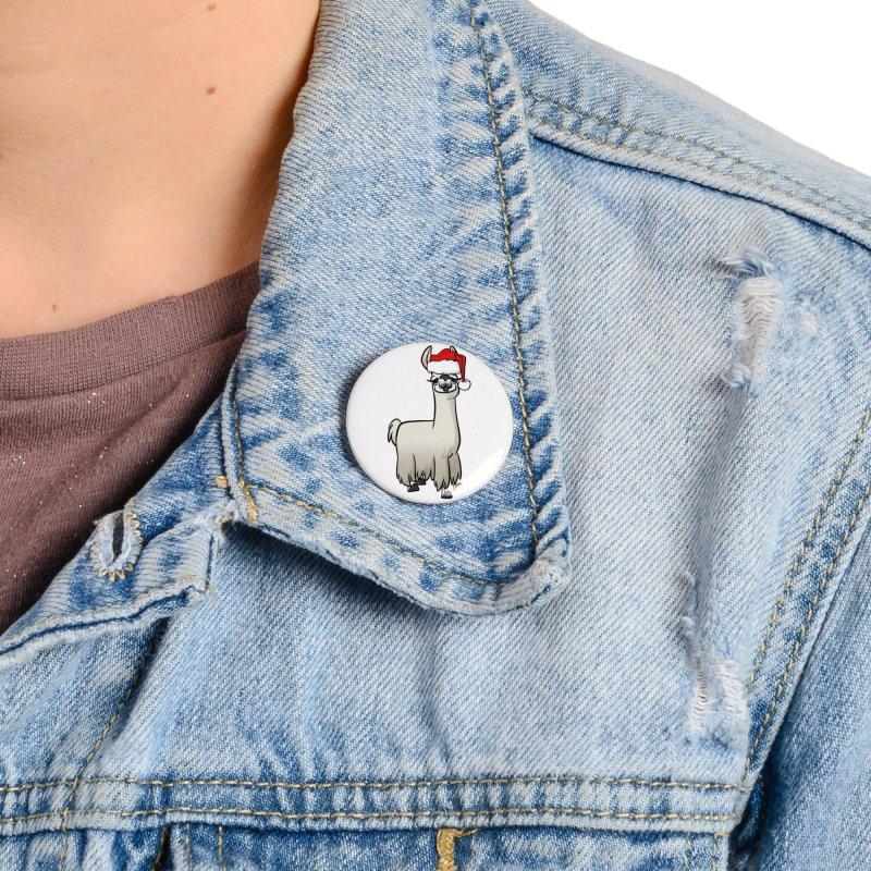 Christmas Llama Accessories Button by binarygod's Artist Shop