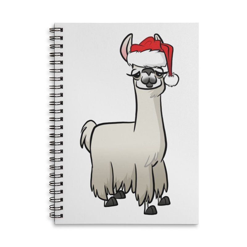 Christmas Llama Accessories Lined Spiral Notebook by binarygod's Artist Shop
