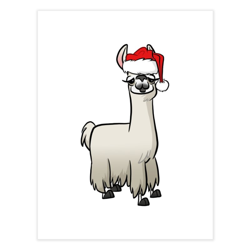 Christmas Llama Home Fine Art Print by binarygod's Artist Shop