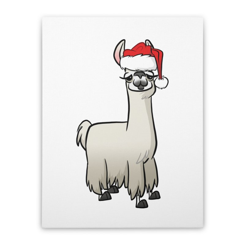 Christmas Llama Home Stretched Canvas by binarygod's Artist Shop