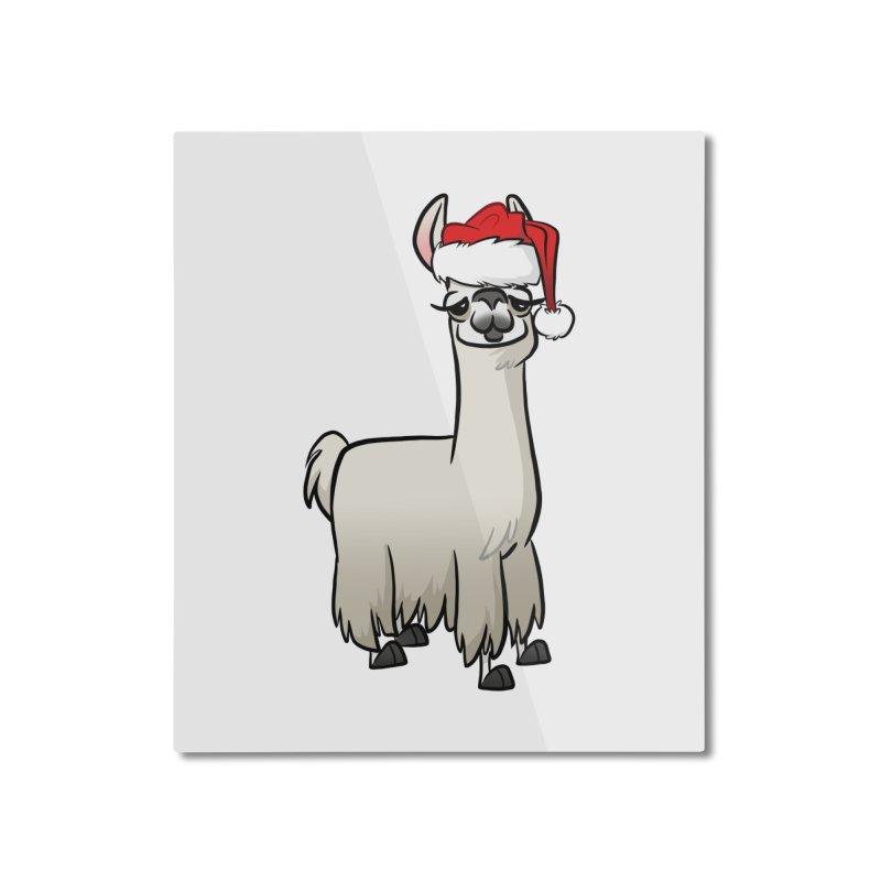 Christmas Llama Home Mounted Aluminum Print by binarygod's Artist Shop