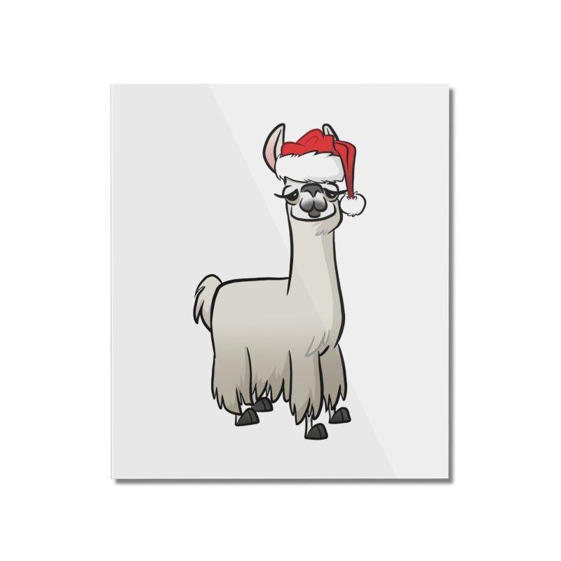 Christmas Llama Home Mounted Acrylic Print by binarygod's Artist Shop