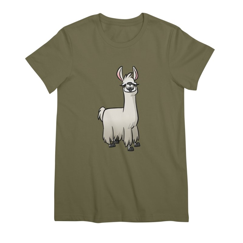 Llama Caricature Women's Premium T-Shirt by binarygod's Artist Shop