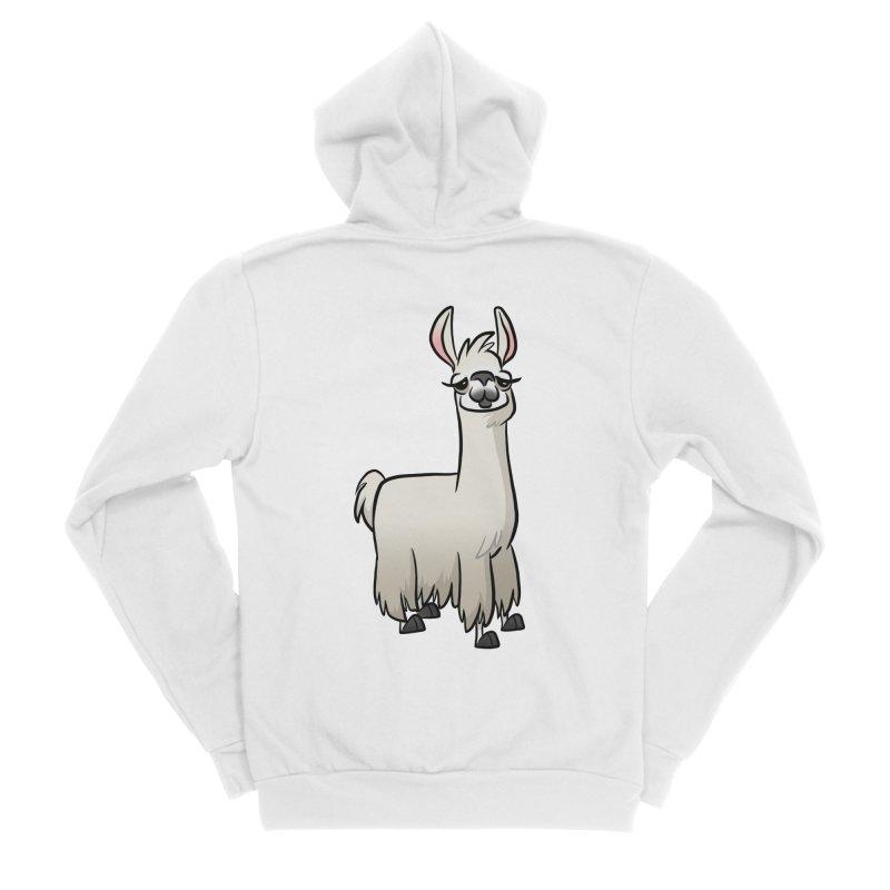 Llama Caricature Women's Sponge Fleece Zip-Up Hoody by binarygod's Artist Shop