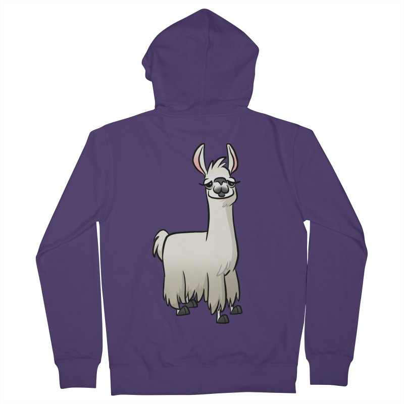 Llama Caricature Women's French Terry Zip-Up Hoody by binarygod's Artist Shop