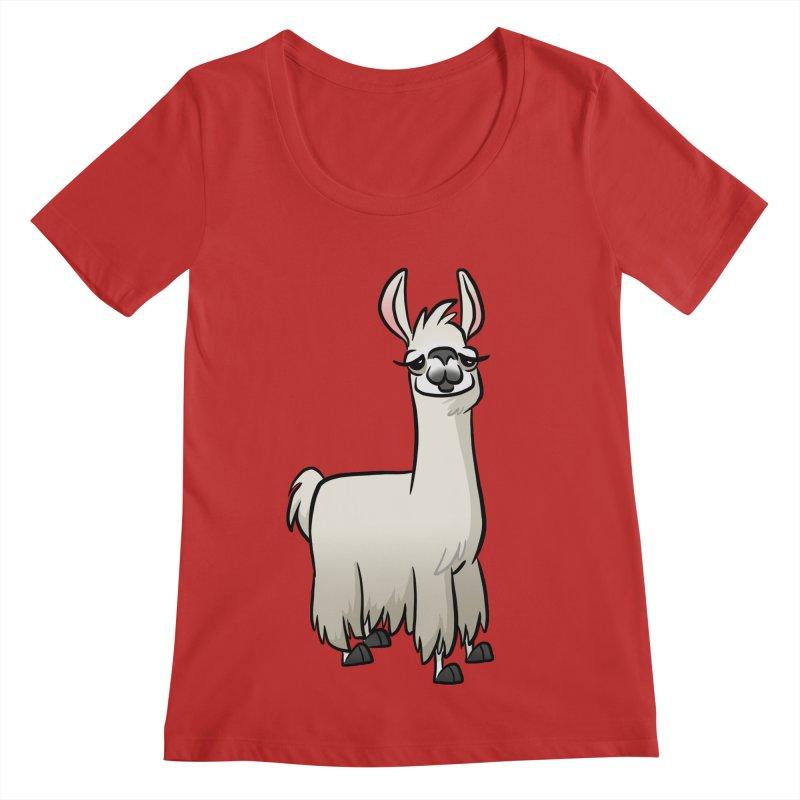 Llama Caricature Women's Regular Scoop Neck by binarygod's Artist Shop
