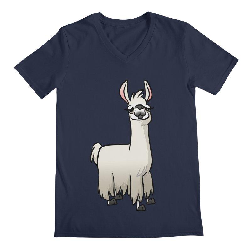Llama Caricature Men's Regular V-Neck by binarygod's Artist Shop