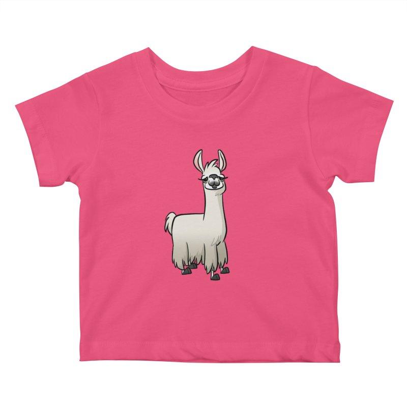 Llama Caricature Kids Baby T-Shirt by binarygod's Artist Shop