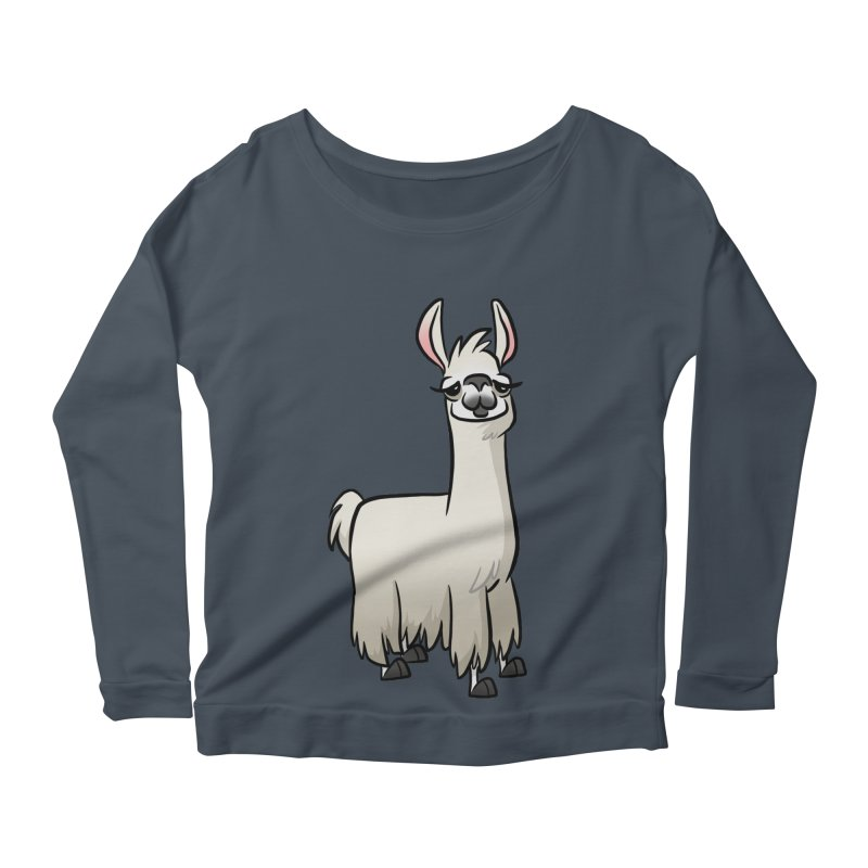Llama Caricature Women's Scoop Neck Longsleeve T-Shirt by binarygod's Artist Shop