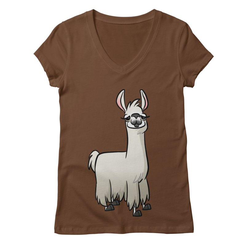 Llama Caricature Women's Regular V-Neck by binarygod's Artist Shop