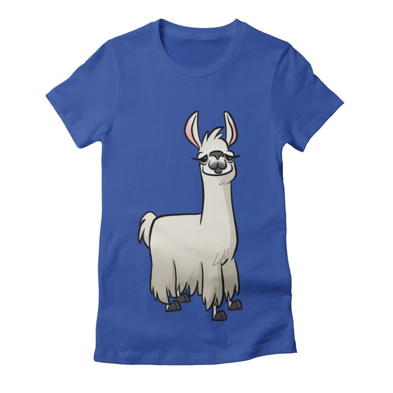 Llama Caricature Women's Fitted T-Shirt by binarygod's Artist Shop