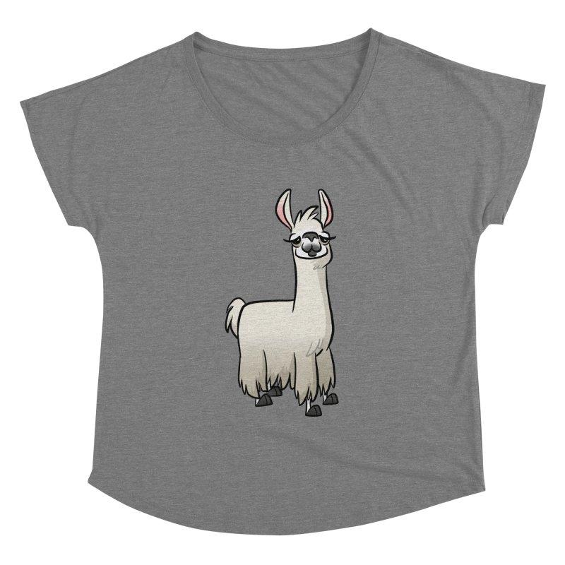 Llama Caricature Women's Scoop Neck by binarygod's Artist Shop