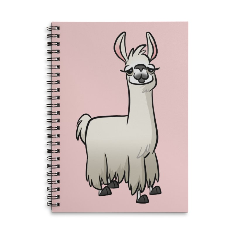 Llama Caricature Accessories Lined Spiral Notebook by binarygod's Artist Shop