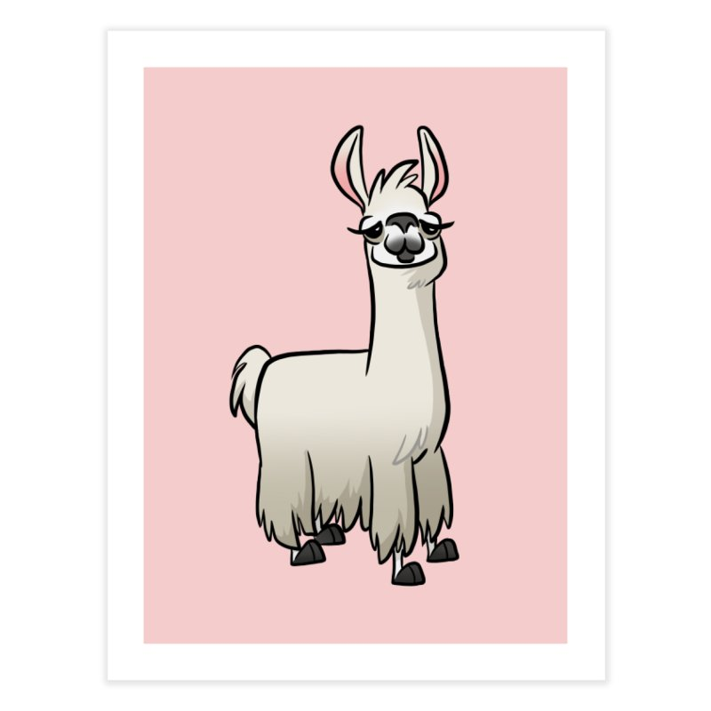 Llama Caricature Home Fine Art Print by binarygod's Artist Shop