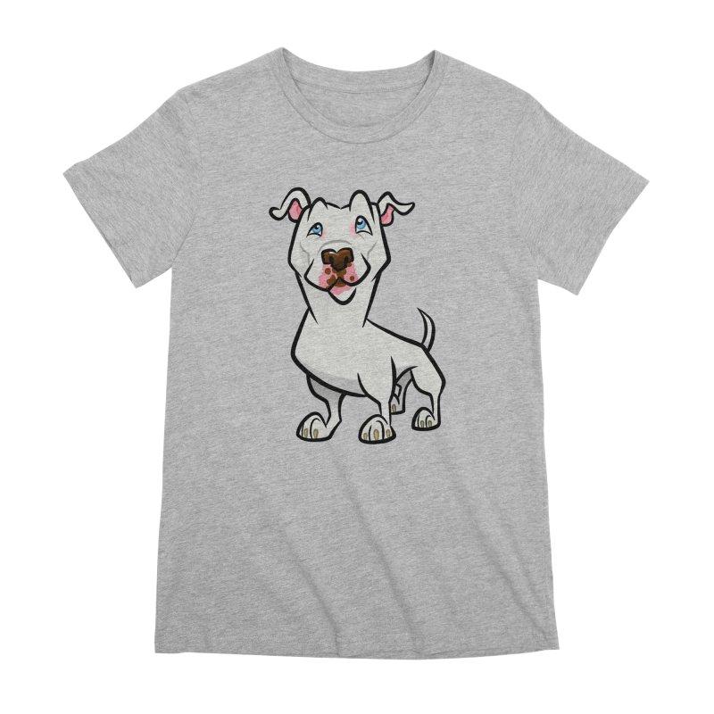 White Pit Bull Women's Premium T-Shirt by binarygod's Artist Shop