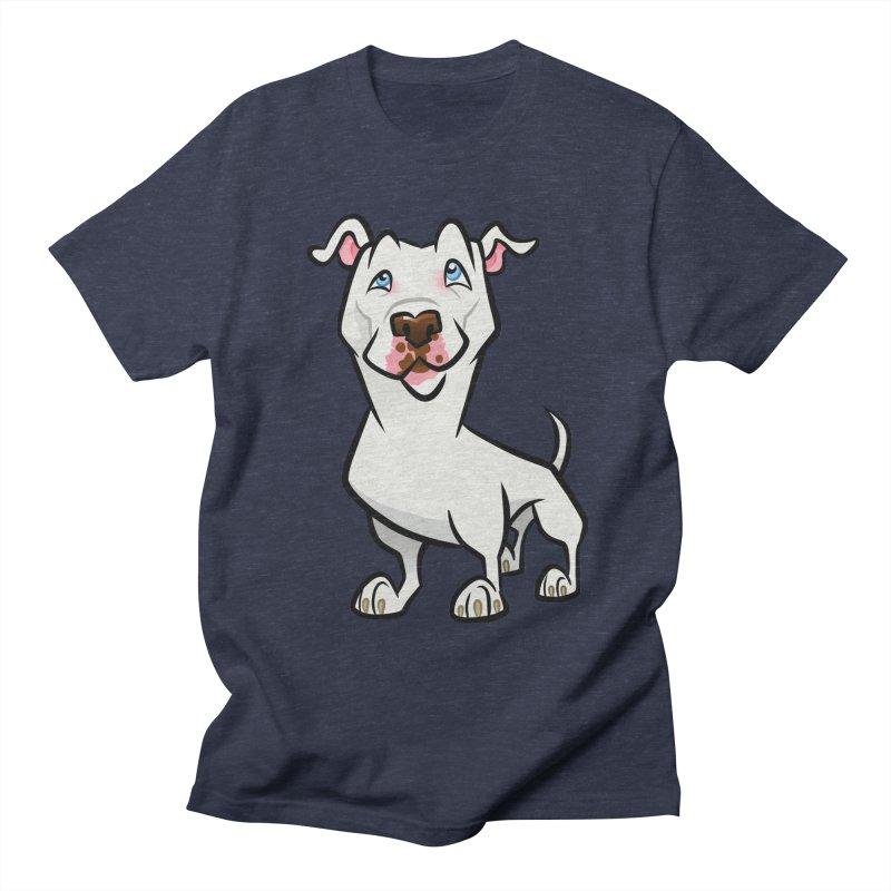 White Pit Bull Men's Regular T-Shirt by binarygod's Artist Shop