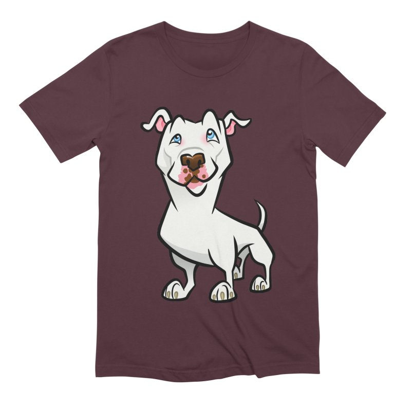 White Pit Bull Men's Extra Soft T-Shirt by binarygod's Artist Shop