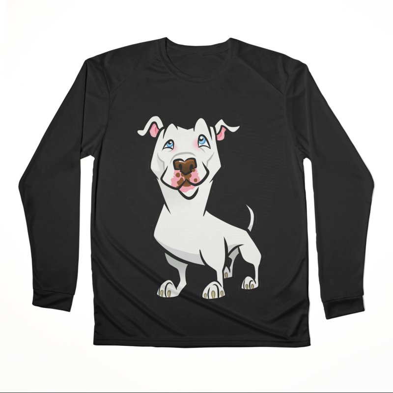 White Pit Bull Men's Performance Longsleeve T-Shirt by binarygod's Artist Shop
